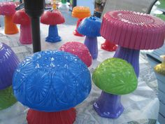 Colorful glass mushrooms for the garden.