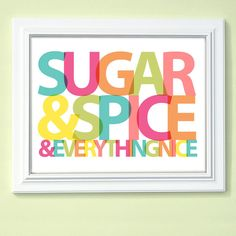 Custom Girls Room Decor Art - Sugar and Spice - Pink Turquoise Yellow Green OR Choose your own colors