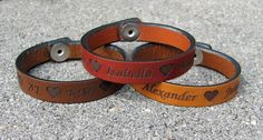 Personalized Leather Bracelet with Children's Names on Etsy, $9.95