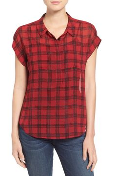 So cute for fall! A painterly version of herringbone-check plaid defines this soft and airy crepe shirt from Vince Camuto and the Nordstrom Anniversary Sale.