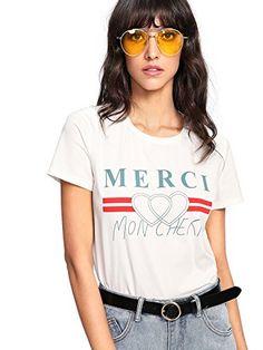 WDIRA Women s Summer Short Sleeve Cute Graphic Tee Shirt Top Summer Dresses  For Women 8e48ec0af