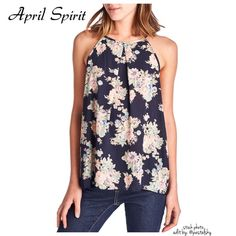 APRIL SPIRIT floral top NEW in perfect condition- floral chiffon halter top. perfect for spring. button closure back.  size- medium   size small and large also available in separate listings  due to lighting- color of actual item may vary from photos.  please don't hesitate to ask questions. happy POSHing    use offer feature to negotiate price on single item  i do not take any transactions off poshmark, so please do not ask. April Spirit Tops