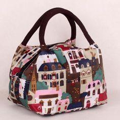 Color Block Zipper House Print Tote Bag