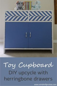Create a much-loved toy cupboard with herringbone drawers by just using paint.