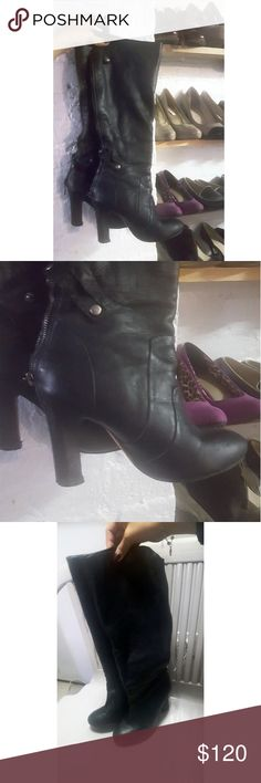 Dolce Vita black leather knee high boots size 6 Dolce Vita black leather knee high boots size 6. Leather in very good condition.  These have a zipper on the back that closes with two buttons over the zipper, very unique and chic design. Normal wear on soles of shoes. There is a tear on the inside of the boot (picture 5), doesn't effect the feel and look of the boot though 👠👡💃. Any questions, let me know 👠 Dolce Vita Shoes Over the Knee Boots