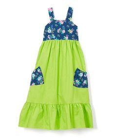 Loving this Green Floral Contrast Pocket Maxi Dress - Toddler & Girls on #zulily! #zulilyfinds