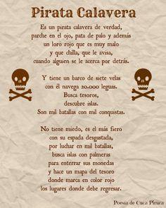 Cuca Piruca: Pirata Calavera Poesias personalizadas