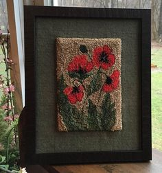 Field Of Poppies Punch Needle Pattern – Rug making Rug Hooking Kits, Rug Hooking Designs, Rug Hooking Patterns, Locker Hooking, Knitting Patterns, Weavers Cloth, Punch Needle Patterns, Latch Hook Rugs, Needle Book
