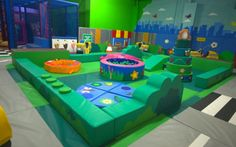 Brightly coloured soft play area