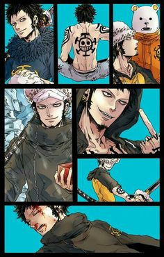 Trafalgar D. Water Law, collage, Bepo, blood; One Piece