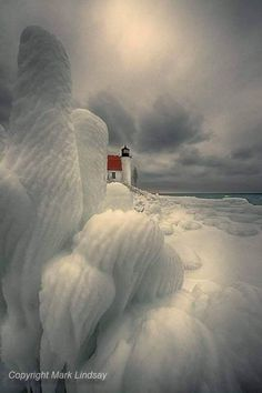 Winter's Magical Touch at Point Betsie Lighthouse, Michigan , Lighthouse Lighting, Lighthouse Pictures, Pretty Pictures, Cool Photos, Beautiful World, Beautiful Places, Fuerza Natural, House Of Beauty, Winter Scenery