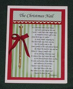 The Christmas Nail Poem to remember the true meaning of Christmas Doing this at christmas time! All Things Christmas, Winter Christmas, Christmas Nails, Christmas Holidays, Xmas, Christmas Ornaments, Christmas Jesus, Christmas Decorations, Christmas Plays