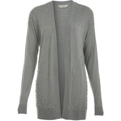 Miss Selfridge Embellished Cardi ($35) ❤ liked on Polyvore featuring tops, cardigans, jackets, sweaters, outerwear, mid grey, beaded top, lightweight cardigan, gray top and viscose tops