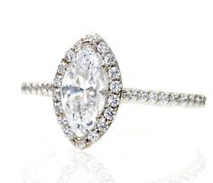 Items similar to Marquise Moissanite Engagement Ring Diamond Halo Moissanite Ring Conflict Free Custom Engagement Ring on Etsy Diamond Wedding Sets, Unique Diamond Engagement Rings, Beautiful Engagement Rings, Marquise Diamond, Halo Diamond, Diamond Rings, Marquise Cut, Halo Rings, Charles And Colvard Moissanite