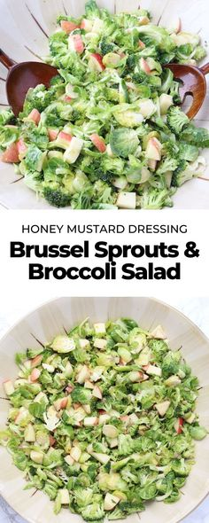 Shaved brussel sprouts, chopped broccoli, diced apple and a honey mustard dressing come together to form this flavorful broccoli and brussel sprouts salad! Roast Frozen Brussel Sprouts, Shaved Brussel Sprout Salad, Broccoli And Brussel Sprouts, Shredded Brussel Sprouts, Brussels Sprouts, Sprout Recipes, Veggie Recipes, Wine Recipes, Salad Recipes
