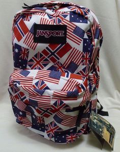 20e313b9835b JanSport Backpack World Flags Red White Blue NWT Denmark UK USA Australia  HTF