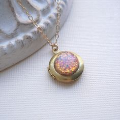 Small Vintage Locket Necklace. Fire Opal Gold Necklace, Round Locket Pendant, Gold Filled, Under 25