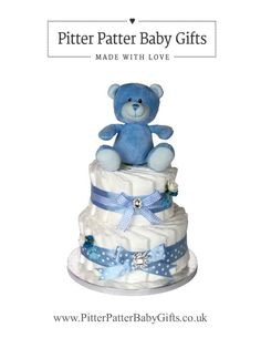 Baby shower baby boy blue two tier nappy cake. Other colours available.