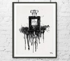 Coco Chanel Watercolor print, watercolor art, Chanle perfume print,Black and White  Chanel 5, Fashion print Chanel No. 5 Chanel Black