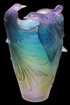 Daum Crystal Bird of Paradise Jewel Vase