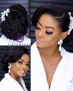 Amazing Wedding Makeup Tips – Makeup Design Ideas Black Wedding Hairstyles, Hairdo Wedding, Bride Hairstyles, Black Hairstyles, Hairstyle Ideas, Wedding Bride, Hair Ideas, Wedding Venues, Wedding Ideas