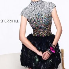 Sherri Hill 21045 Cap Sleeve Feather Gown Beautiful open back embellished feather dress. Worn once and in perfect condition. Sherri Hill Dresses Mini