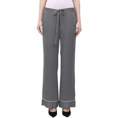 Kate Moss for Equipment Shiloh silk pijama pants (485 PAB) ❤ liked on Polyvore featuring pants, nero, silk drawstring pants, silk pants, patterned trousers, patterned pants and blue trousers