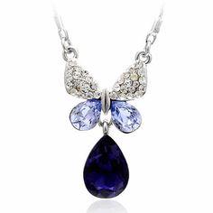 Purple Zircon Butterfly Teardrop Fashion Jewelry Choker Necklaces