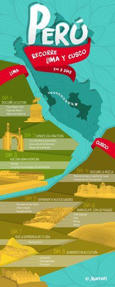 Descubre Perú en una sola aventura.  Encuentra aquí, el mejor itinerario para recorrer Lima y Cusco en 8 días, sin perderte los mejores sitios de interés, cultura, gastronomía y deportes extremos del país. #Perú #TravelTips #Vacations #Destinations #HotelesMarriott #Marriott #Infografía