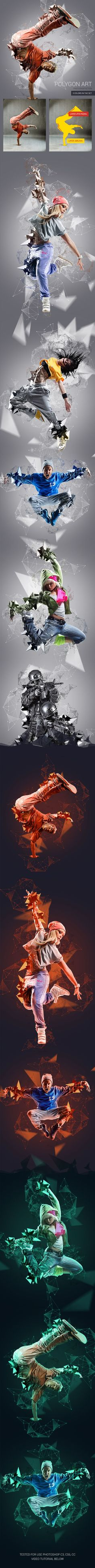 Polygon Art Photoshop Action. Download here: https://graphicriver.net/item/polygon-art-photoshop-action/17372615?ref=ksioks