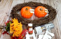 The perfectly simple wreath for your front door this Fall! : The perfectly simple wreath for your front door this Fall! Easy Fall Wreaths, Diy Fall Wreath, Wreath Crafts, Wreath Ideas, Faux Pumpkins, Fabric Pumpkins, Dollar Store Halloween, Halloween Crafts, Halloween Ideas