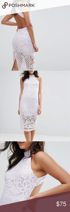 """ASOS Club L Lilac Lace Midi Dress With Open Back NEW WITH TAGS IN PERFECT CONDITION Lined lace High neck Sheer lace hem Open back Zip closure Close-cut bodycon fit Machine wash 100% Polyester Model wears a UK 8/EU 36/US 4 and is 170cm/5'7"""" tall ASOS Dresses Midi"""