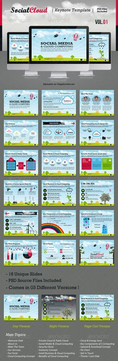 SocialCloud Keynote Template V.01 - GraphicRiver Item for Sale