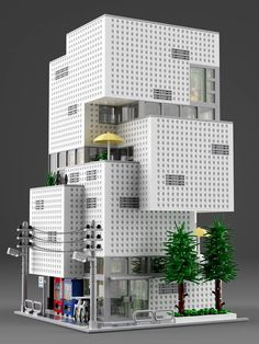 This is a Lego modular of the F-town Building located in Sendai, Japan by architect Atelier Hitoshi Abe. About 8500 bricks of which over 3000 are white plates. 😂 Computer rendering but only existing bricks were used. Lego Minecraft, Lego Lego, Lego Batman, Minecraft Skins, Minecraft Buildings, Lego City, Legos, Pokemon Lego, Lego Structures