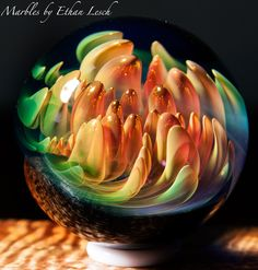 SILVER & GOLD FUMED MARBLE SIGNED BY ~ETHAN LESCH~ BOROSILICATE, BORO, ART, MIB #Glass