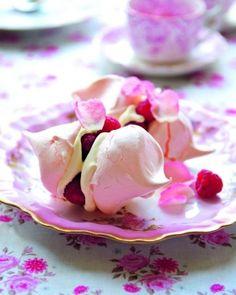 Raspberry and rose petal meringues