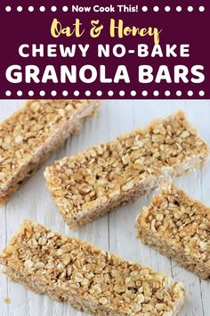 These homemade Oat and Honey Chewy No-Bake Granola bars are so quick and easy to make and so delicious you may never buy granola bars again! Granola Barre, No Bake Granola Bars, Healthy Granola Bars, Chewy Granola Bars, Homemade Granola Bars, Oats And Honey Granola Bar Recipe, Crunchy Granola Bars Recipe, Best Granola Bars, Granola Cookies