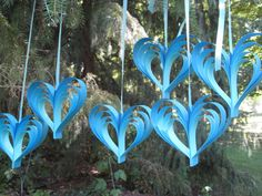 Easily made. Six Blue Rainbow Hearts. Cardstock Paper in Shades of Blue. Wedding, Shower Decoration. Custom Orders Welcome.. $28.00, via Etsy.