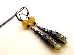 Free shipping..Agate earrings.Olivine by Jewelry2Heart on Etsy