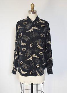 Ralph Lauren Navy Silk Nautical Print Blouse // size S
