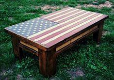 This Coffee Table Is Handcrafted From Solid Wood With Pride Features Include A Distressed American Flag Full Extension Sliding Top Equipped 250 Pound