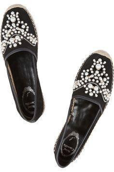 René Caovilla|Embellished coated-suede espadrilles