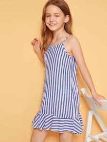 To find out about the Girls Striped Flounce Hem Cami Dress at SHEIN, part of our latest Girls Dresses ready to shop online today! Emma Clothing, Clothing Ideas, Fashion News, Kids Fashion, Poses, How To Roll Sleeves, Dress P, To My Daughter, Kids Outfits