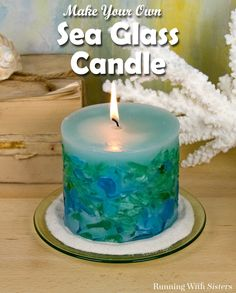 Make a gorgeous DIY Sea Glass Candle using a two-part candle mold! We'll show you how to wick the inner mold, melt the wax, and add the sea glass to make a beautiful embedded candle!