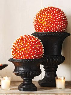 Last year, candy corn wreath. This year candy corn balls. Halloween Candy, Easy Halloween, Holidays Halloween, Halloween Crafts, Halloween Decorations, Fall Decorations, Halloween 2013, Halloween House, Thanksgiving Decorations