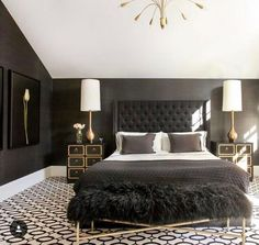 Black And Gold Minimalist Bedroom Simple Sweet