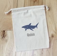 Shark party favor - Etsy listing at https://www.etsy.com/listing/166441396/shark-personalized-favor-bags-set-of-10