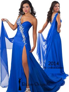 Floor Length And High Slit Ritzee Originals Pageant Dress 2014: PageantDesigns.com