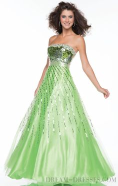 Best-selling A-line Floor-length Strapless Organza Evening Dresses