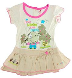 Baby Girl Modern One Piece Frock With Cream And Beige Combination In XXL (6- 21d8b63a291f